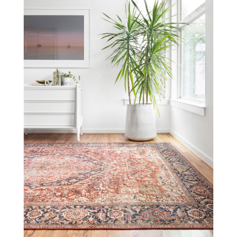 """Loloi II Layla LAY-08 1' 6"""" x 1' 6"""" Sample Swatch Square Rug in Red and Navy (LAYLLAY-08RENV160S)"""