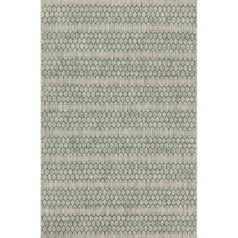 """Loloi Isle IE-01 Rug 2' 2"""" x 3' 9"""" Grey and Teal Rectangle"""