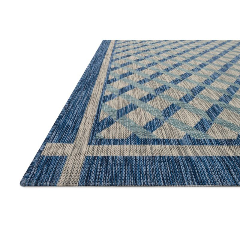 "Loloi Isle IE-07 1' 6"" x 1' 6"" Sample Swatch Square Rug in Blue and Grey (ISLEIE-07BBGY160S)"
