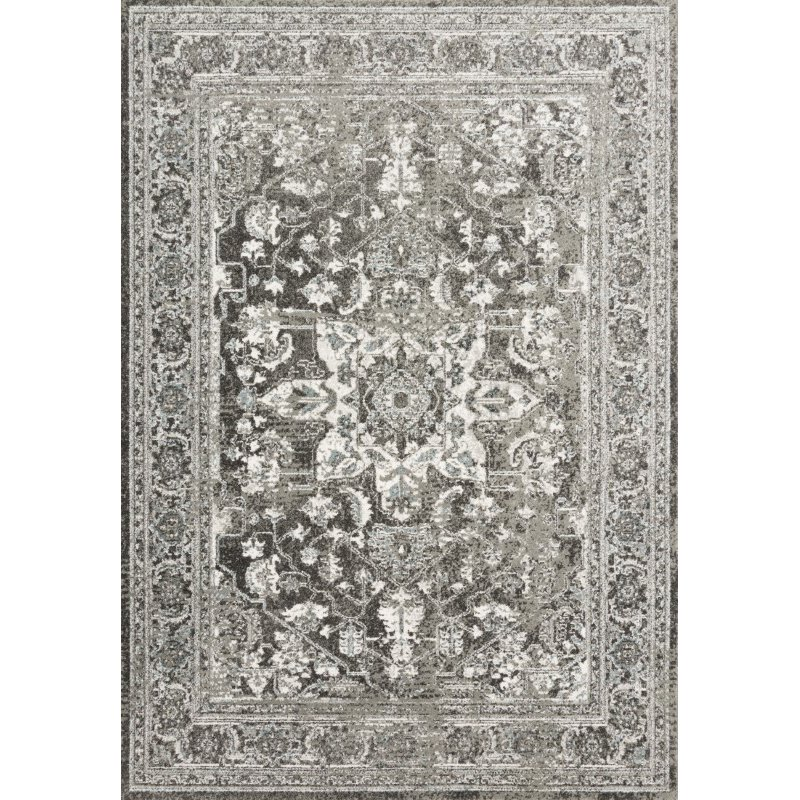 "Loloi Joaquin JOA-01 Traditional Power Loomed 1' 6"" x 1' 6"" Sample Swatch Square Rug in Charcoal and Ivory (JOAQJOA-01CCIV160S)"