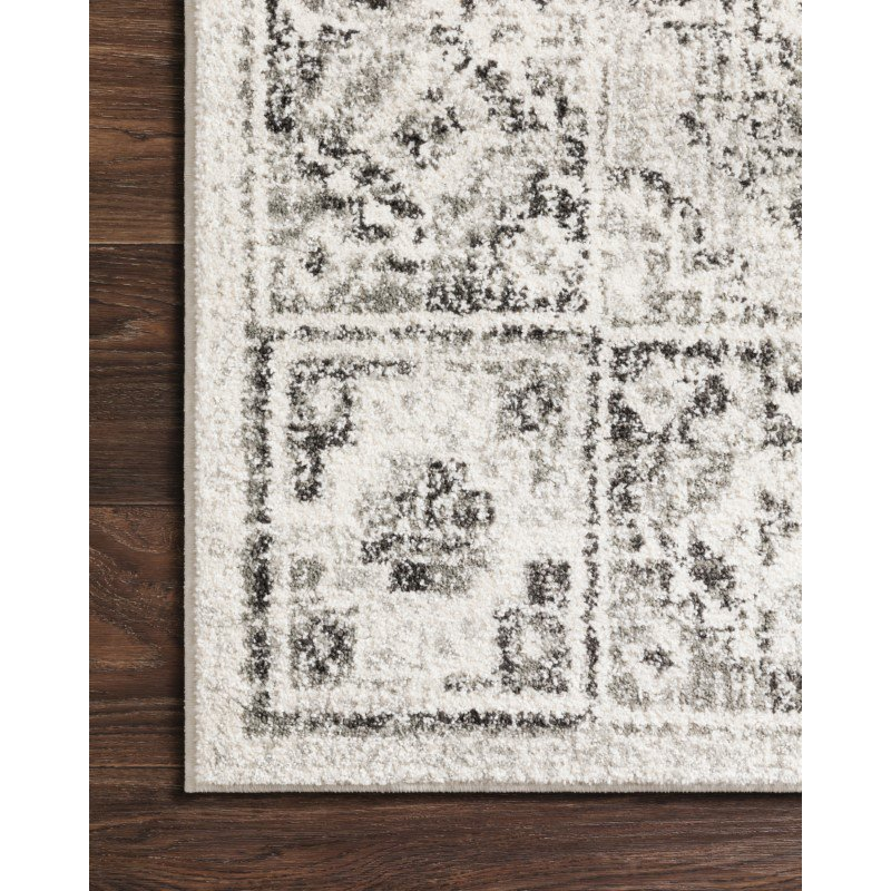"Loloi Joaquin JOA-03 Traditional Power Loomed 1' 6"" x 1' 6"" Sample Swatch Square Rug in Ivory and Charcoal (JOAQJOA-03IVCC160S)"