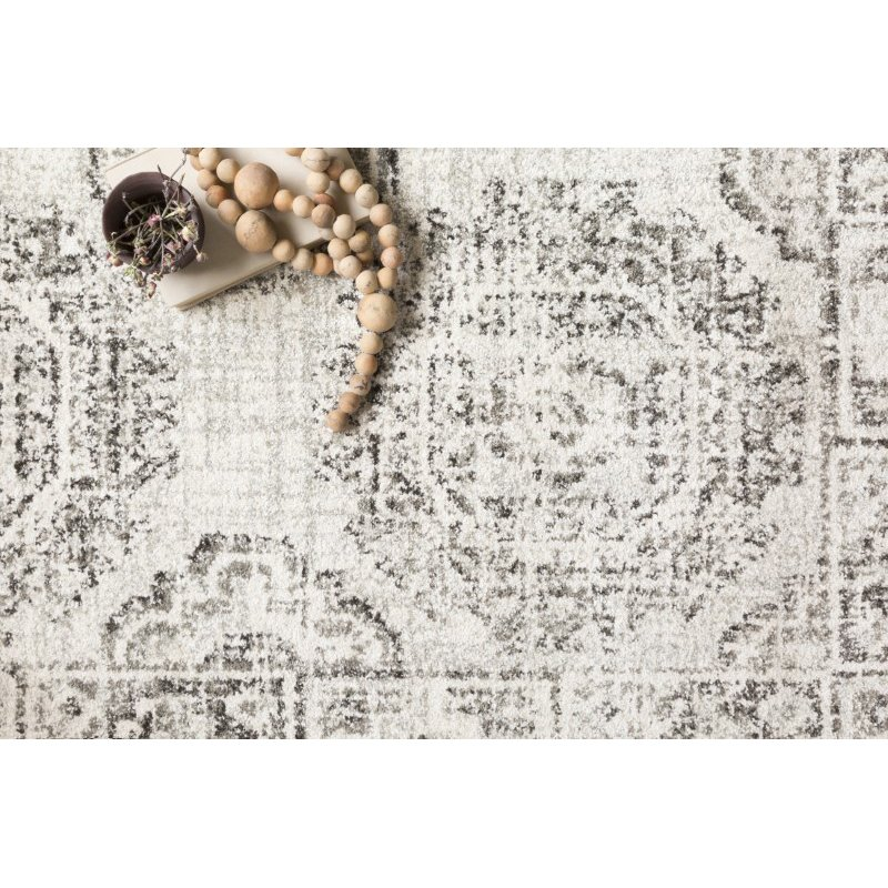 "Loloi Joaquin JOA-03 Traditional Power Loomed 2' 7"" x 12' Runner Rug in Ivory and Charcoal (JOAQJOA-03IVCC27C0)"