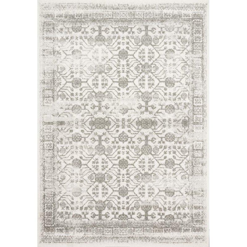 """Loloi Joaquin JOA-04 Traditional Power Loomed 3' 7"""" x 5' 7"""" Rectangle Rug in Ivory and Grey (JOAQJOA-04IVGY3757)"""