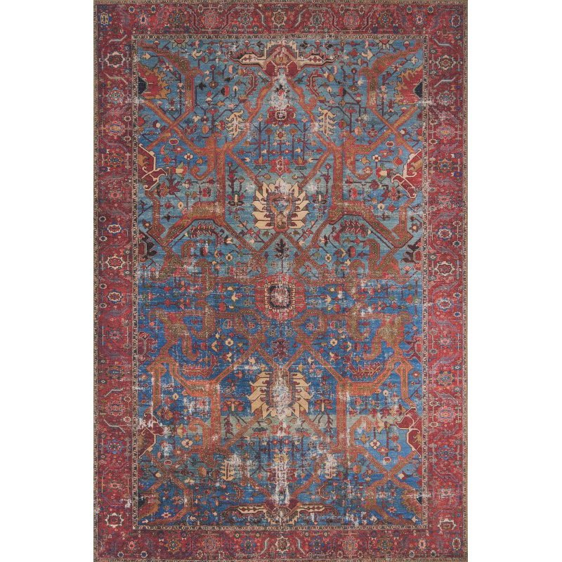 """Loloi Loren LQ-10 Traditional Rectangle Rug 8' 4"""" x 11' 6"""" in Blue and Red (LORELQ-10BBRE84B6)"""