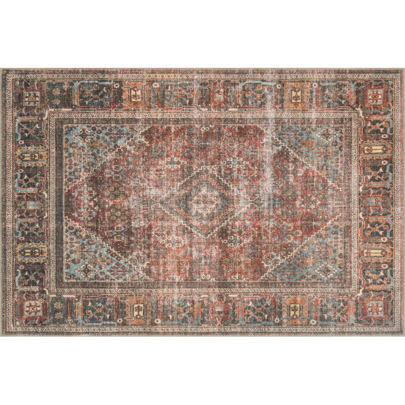 "Loloi Loren LQ-13 Traditional Rectangle Rug 5' x 7' 6"" in Brick and Midnight (LORELQ-13BKMD5076)"