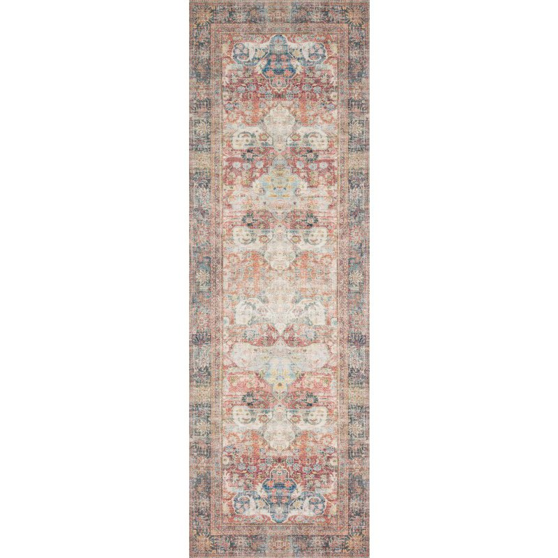 "Loloi Loren LQ-14 Traditional Runner Rug 2' 6"" x 7' 6"" in Brick and Multi (LORELQ-14BKML2676)"