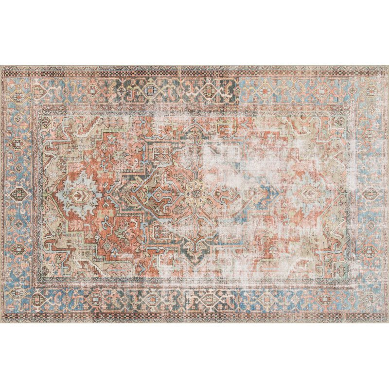 "Loloi Loren LQ-15 Traditional Rectangle Rug 8' 4"" x 11' 6"" in Terracotta and Sky (LORELQ-15TCSC84B6)"