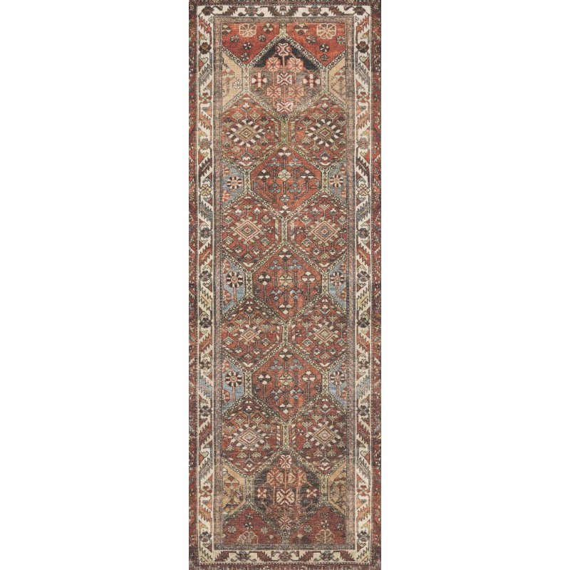 "Loloi Loren LQ-16 Traditional Power Loomed 3' 6"" x 5' 6"" Rectangle Rug in Spice and Multi (LORELQ-16SQML3656)"