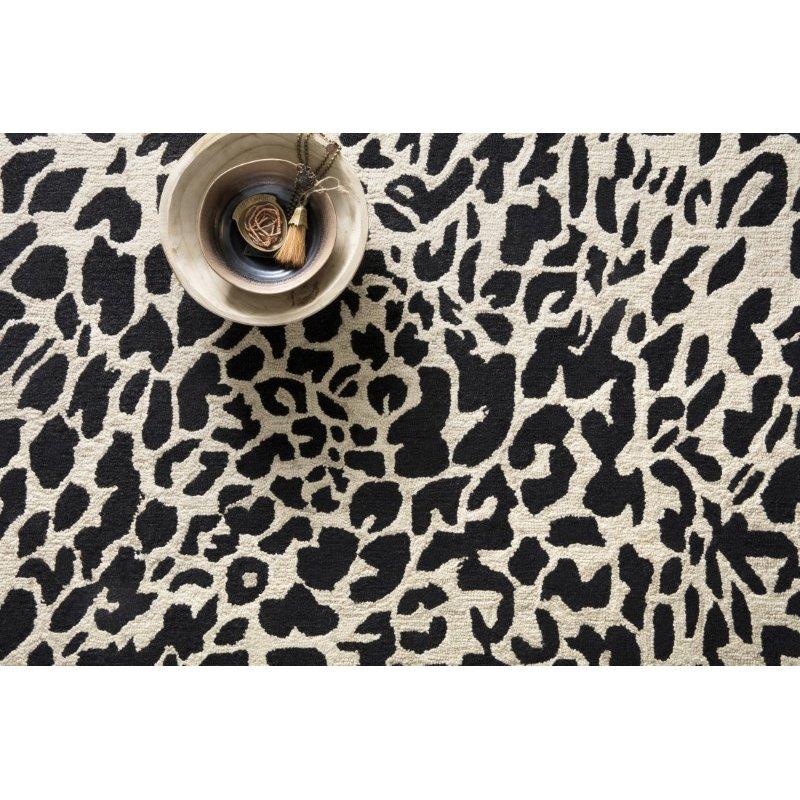 "Loloi Masai MAS-02 Contemporary Hooked 3' 6"" x 5' 6"" Rectangle Rug in Black and Ivory (MASAMAS-02BLIV3656)"