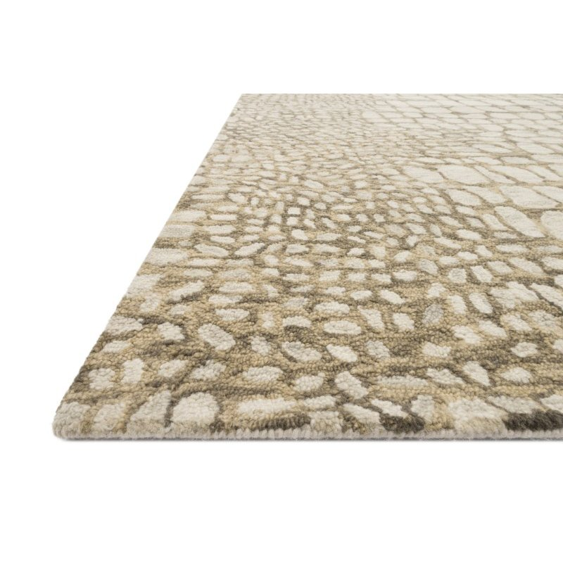 "Loloi Masai MAS-03 Contemporary Hooked 1' 6"" x 1' 6"" Sample Square Rug in Neutral (MASAMAS-03NT00160S)"