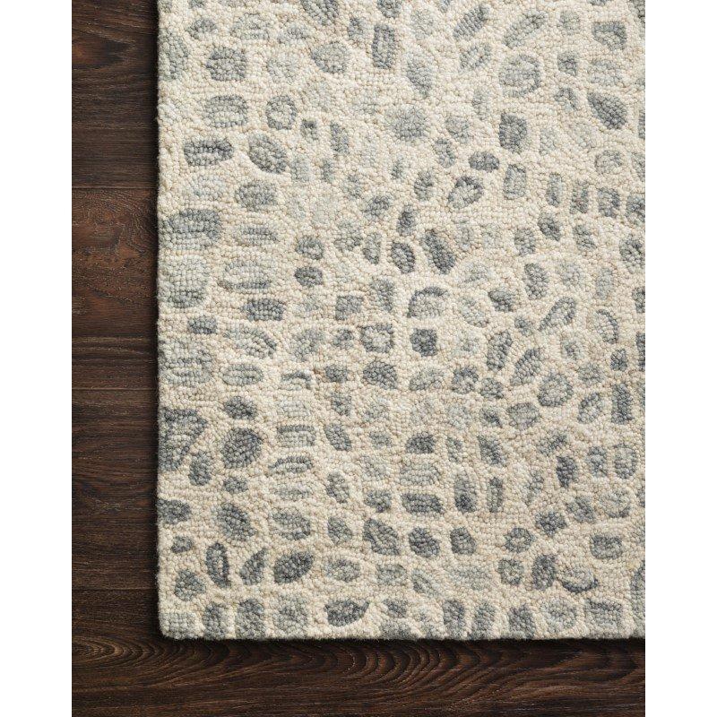"Loloi Masai MAS-03 Contemporary Hooked 5' x 7' 6"" Rectangle Rug in Silver Grey and Ivory (MASAMAS-03SYIV5076)"