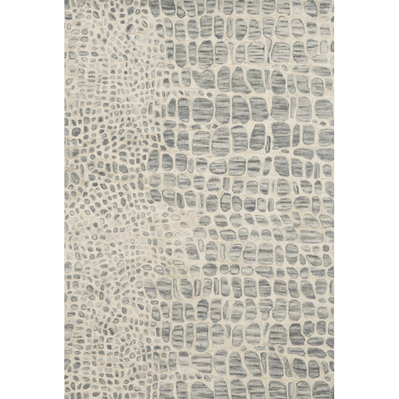 "Loloi Masai MAS-03 Contemporary Hooked 7' 9"" x 9' 9"" Rectangle Rug in Silver Grey and Ivory (MASAMAS-03SYIV7999)"