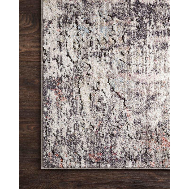 "Loloi Medusa MED-01 Contemporary Power Loomed 1' 6"" x 1' 6"" Sample Square Rug in Ivory and Granite (MEDUMED-01IVGN160S)"