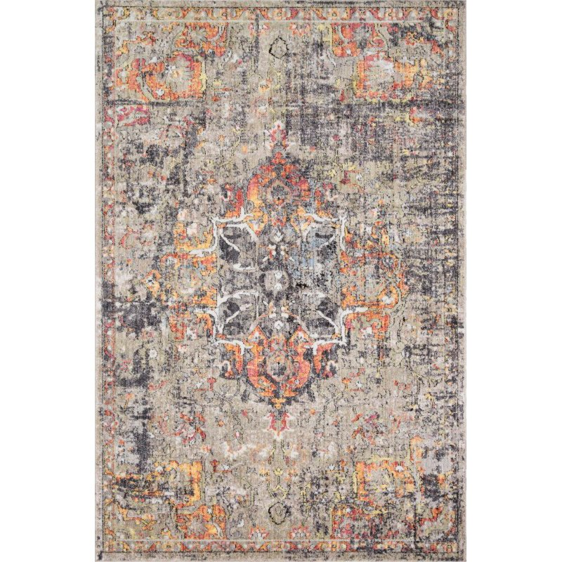 "Loloi Medusa MED-03 Contemporary Power Loomed 1' 6"" x 1' 6"" Sample Square Rug in Taupe and Sunset (MEDUMED-03TASS160S)"