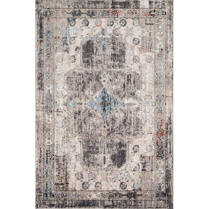 "Loloi Medusa MED-05 Contemporary Power Loomed 6' x 8' 8"" Rectangle Rug in Natural and Stone (MEDUMED-05NASN6088)"