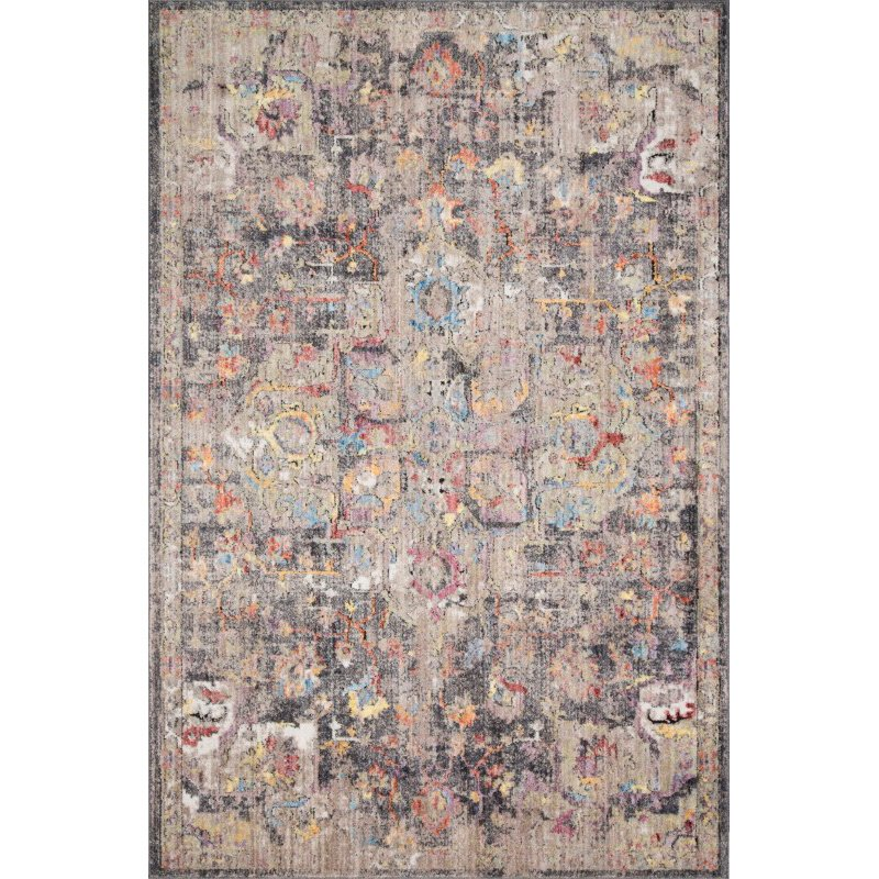 """Loloi Medusa MED-06 Contemporary Power Loomed 5' x 7' 6"""" Rectangle Rug in Charcoal and Fiesta (MEDUMED-06CCFD5076)"""