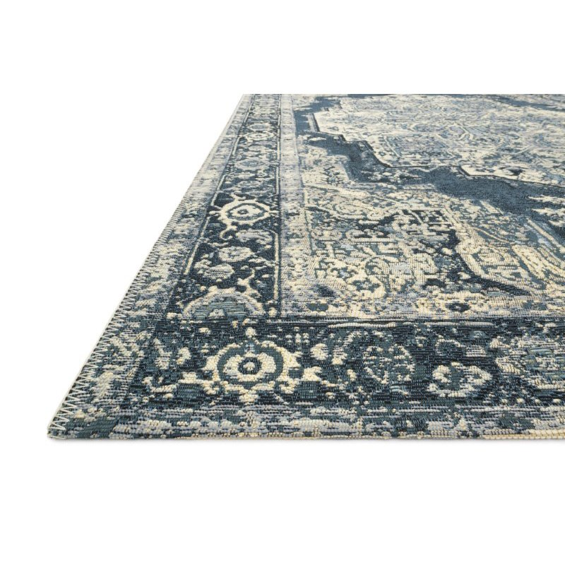 "Loloi Mika MIK-01 Indoor/Outdoor Power Loomed 1' 6"" x 1' 6"" Sample Swatch Rug in Dk Blue (MIKAMIK-01XDXD160S)"