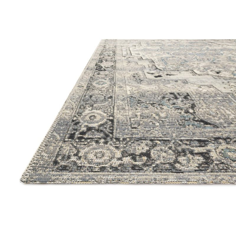 """Loloi Mika MIK-01 Indoor/Outdoor Power Loomed 6' 7"""" x 9' 4"""" Rectangle Rug in Grey and Blue (MIKAMIK-01GYBB6794)"""