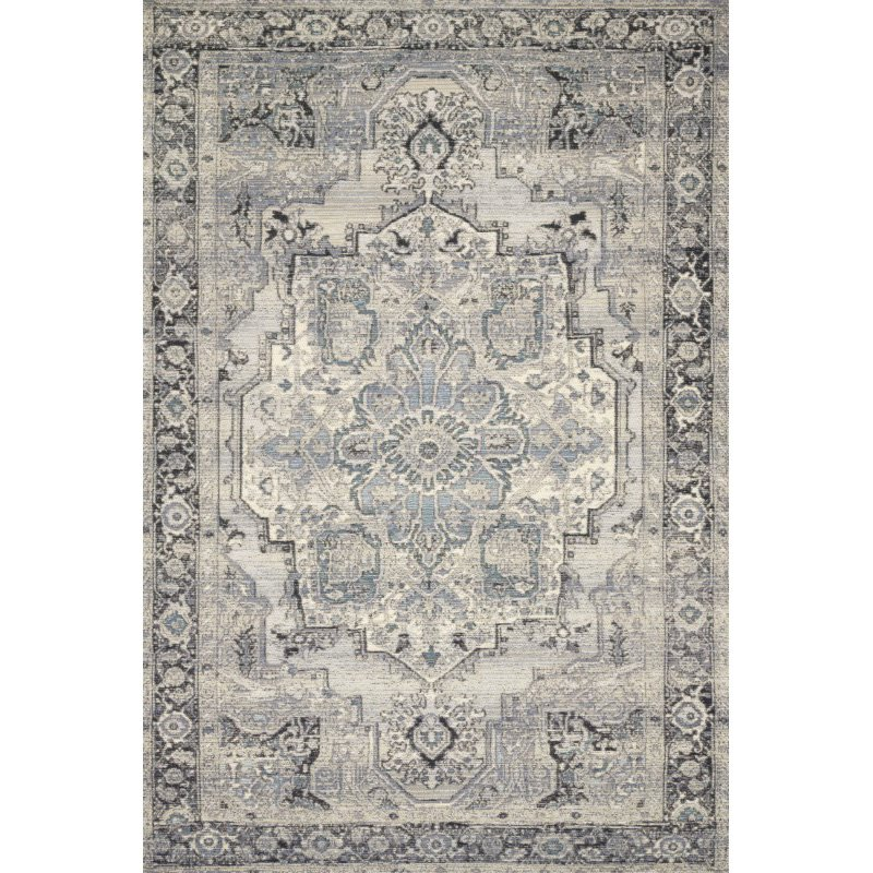 "Loloi Mika MIK-01 Indoor/Outdoor Power Loomed 7' 10"" x 11' 2"" Rectangle Rug in Grey and Blue (MIKAMIK-01GYBB7AB2)"