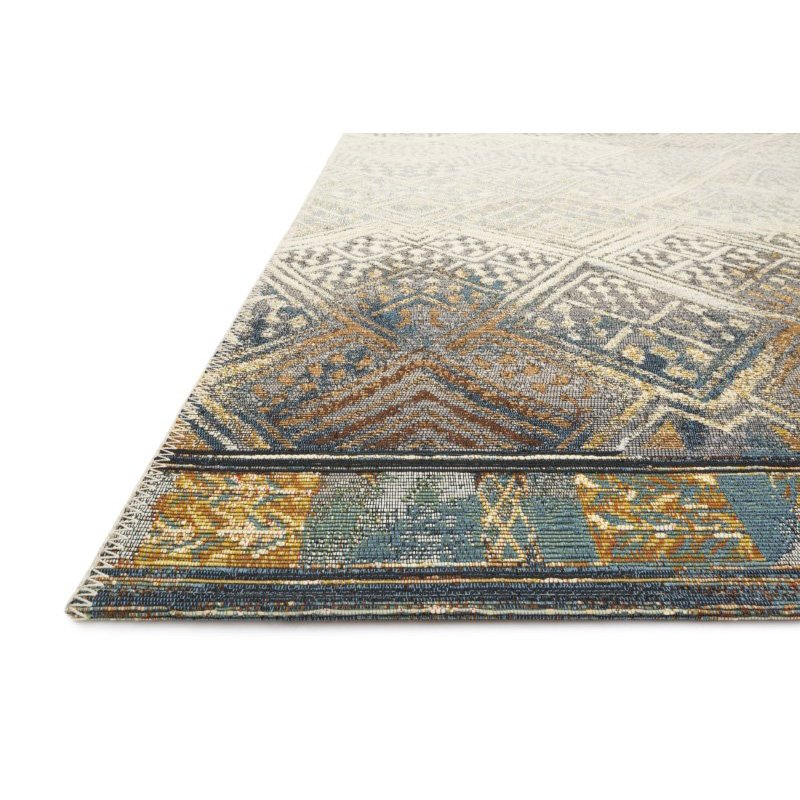 """Loloi Mika MIK-02 Indoor/Outdoor Power Loomed 1' 6"""" x 1' 6"""" Sample Swatch Rug in Ivory and Mediterranean (MIKAMIK-02IVMY160S)"""