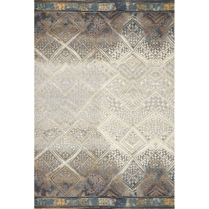 "Loloi Mika MIK-02 Indoor/Outdoor Power Loomed 2' 5"" x 4' Rectangle Rug in Ivory and Mediterranean (MIKAMIK-02IVMY2540)"