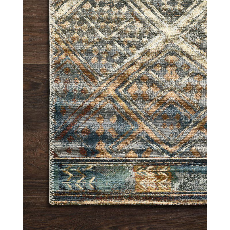 "Loloi Mika MIK-02 Indoor/Outdoor Power Loomed 5' 3"" x 7' 8"" Rectangle Rug in Ivory and Mediterranean (MIKAMIK-02IVMY5378)"