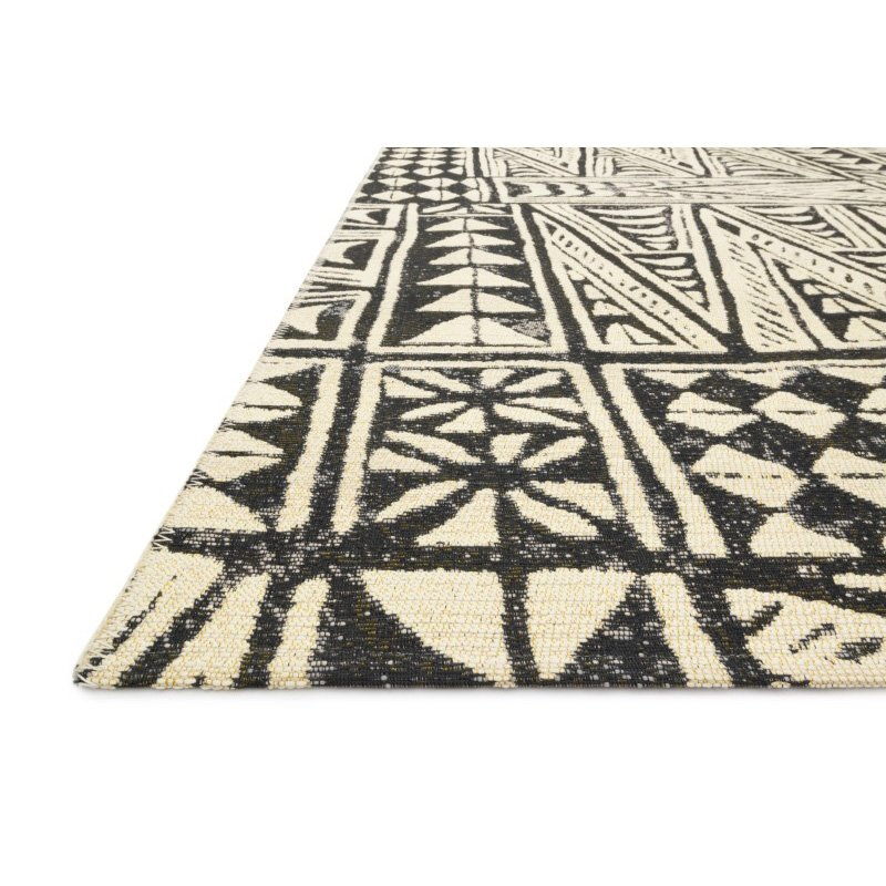 """Loloi Mika MIK-03 Indoor/Outdoor Power Loomed 2' 5"""" x 4' Rectangle Rug in Ivory and Black (MIKAMIK-03IVBL2540)"""