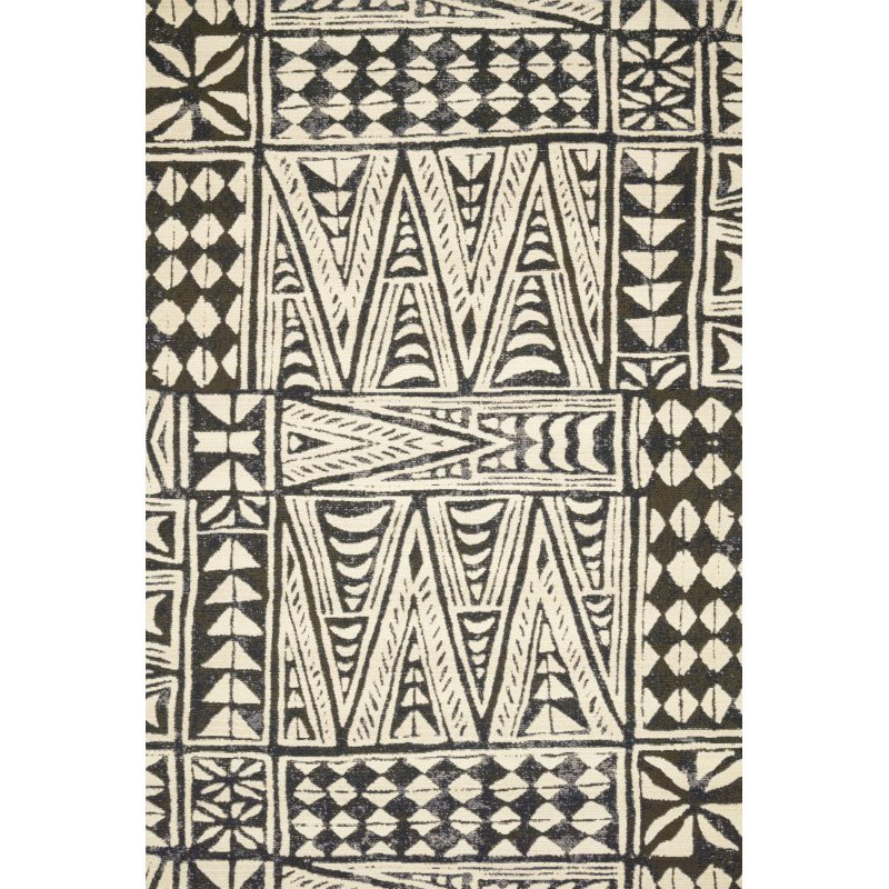 """Loloi Mika MIK-03 Indoor/Outdoor Power Loomed 5' 3"""" x 7' 8"""" Rectangle Rug in Ivory and Black (MIKAMIK-03IVBL5378)"""