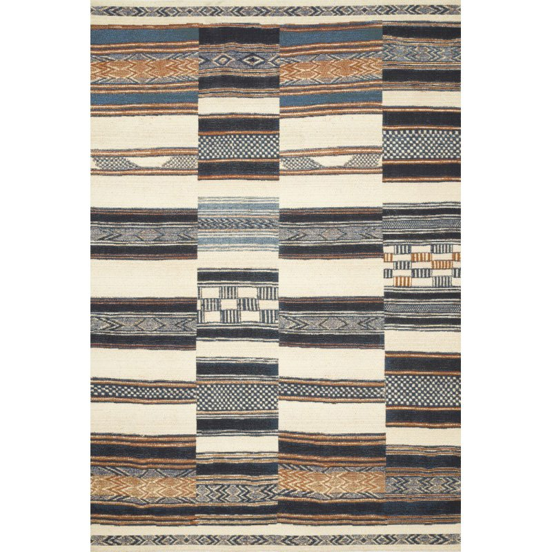 "Loloi Mika MIK-04 Indoor/Outdoor Power Loomed 1' 6"" x 1' 6"" Sample Swatch Rug in Ivory and Multi (MIKAMIK-04IVML160S)"
