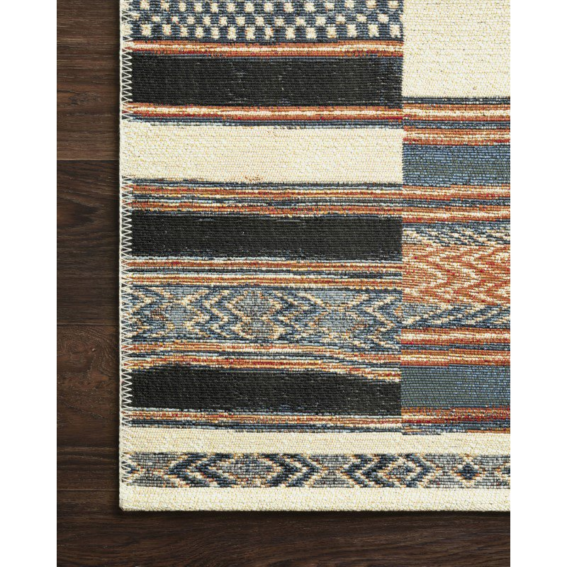"Loloi Mika MIK-04 Indoor/Outdoor Power Loomed 5' 3"" x 7' 8"" Rectangle Rug in Ivory and Multi (MIKAMIK-04IVML5378)"