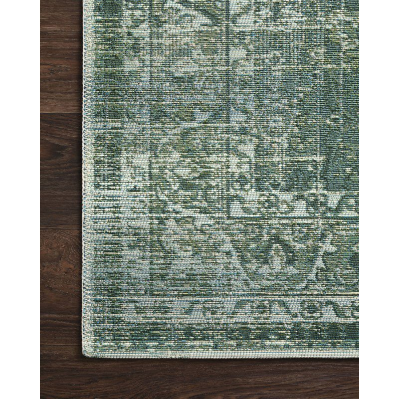 """Loloi Mika MIK-06 Indoor/Outdoor Power Loomed 6' 7"""" x 9' 4"""" Rectangle Rug in Green and Mist (MIKAMIK-06GRMI6794)"""