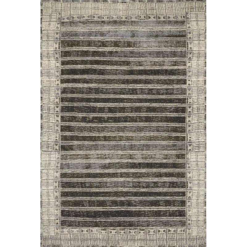 "Loloi Mika MIK-07 Indoor/Outdoor Power Loomed 6' 7"" x 9' 4"" Rectangle Rug in Charcoal and Ivory (MIKAMIK-07CCIV6794)"