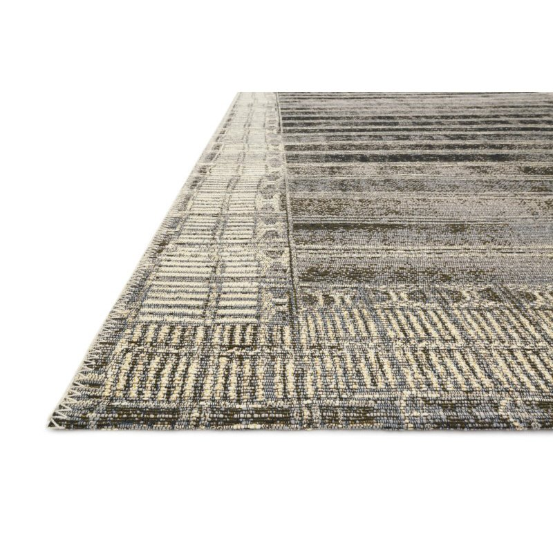 """Loloi Mika MIK-07 Indoor/Outdoor Power Loomed 6' 7"""" x 9' 4"""" Rectangle Rug in Charcoal and Ivory (MIKAMIK-07CCIV6794)"""