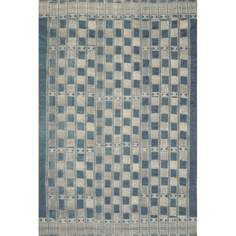 """Loloi Mika MIK-08 Indoor/Outdoor Power Loomed 2' 5"""" x 4' Rectangle Rug in Blue and Ivory (MIKAMIK-08BBIV2540)"""