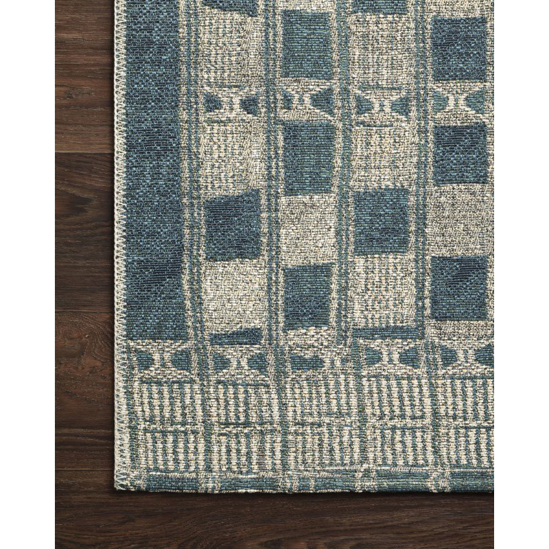 """Loloi Mika MIK-08 Indoor/Outdoor Power Loomed 6' 7"""" x 9' 4"""" Rectangle Rug in Blue and Ivory (MIKAMIK-08BBIV6794)"""