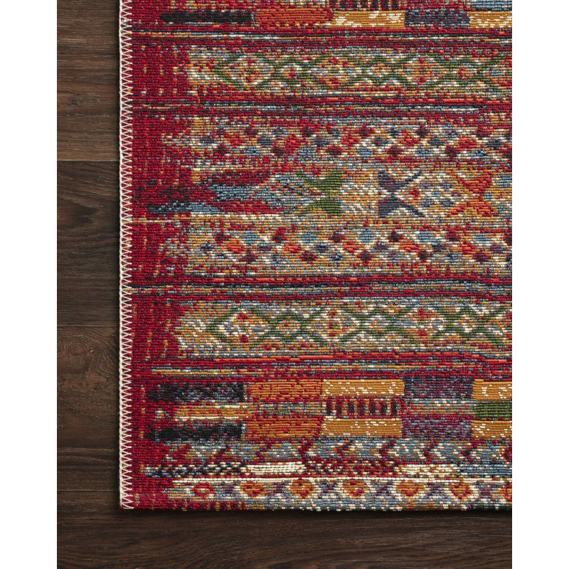 "Loloi Mika MIK-09 Indoor/Outdoor Power Loomed 2' 5"" x 4' Rectangle Rug in Red and Multi (MIKAMIK-09REML2540)"