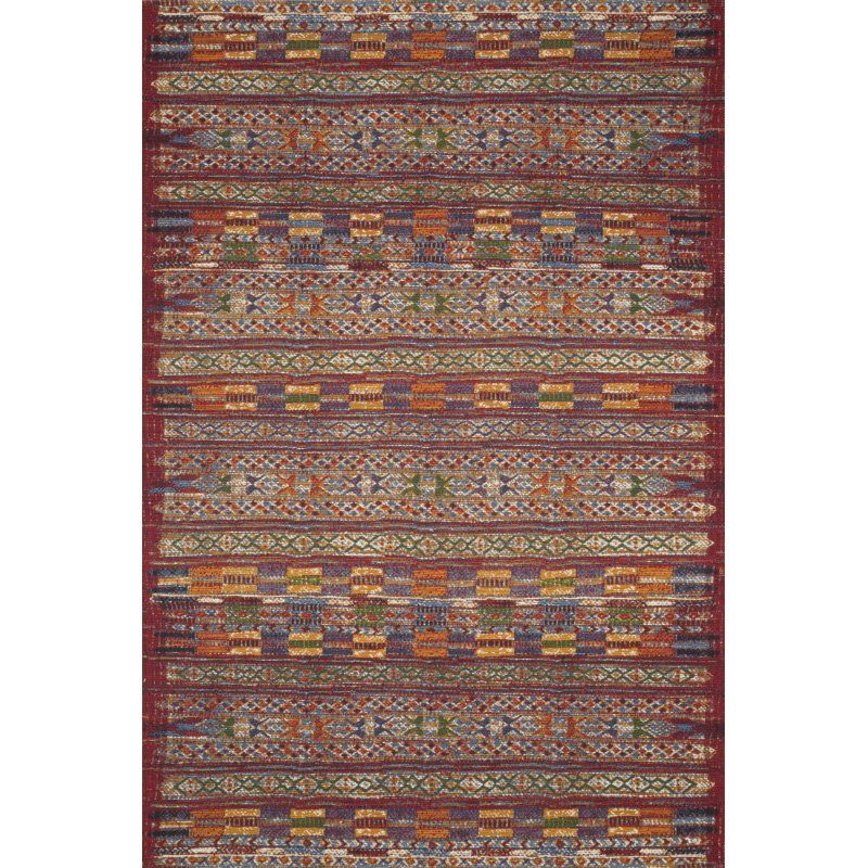 "Loloi Mika MIK-09 Indoor/Outdoor Power Loomed 2' 5"" x 7' 8"" Runner Rug in Red and Multi (MIKAMIK-09REML2578)"