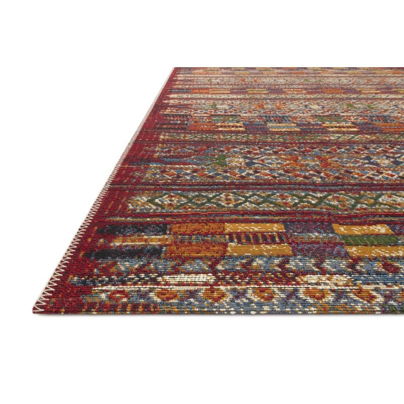 """Loloi Mika MIK-09 Indoor/Outdoor Power Loomed 5' 3"""" x 7' 8"""" Rectangle Rug in Red and Multi (MIKAMIK-09REML5378)"""