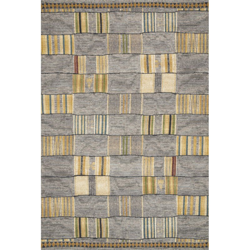 "Loloi Mika MIK-10 Indoor/Outdoor Power Loomed 1' 6"" x 1' 6"" Sample Swatch Rug in Granite and Multi (MIKAMIK-10GNML160S)"