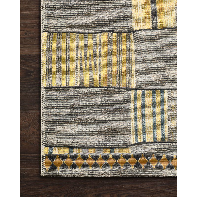 "Loloi Mika MIK-10 Indoor/Outdoor Power Loomed 2' 5"" x 4' Rectangle Rug in Granite and Multi (MIKAMIK-10GNML2540)"