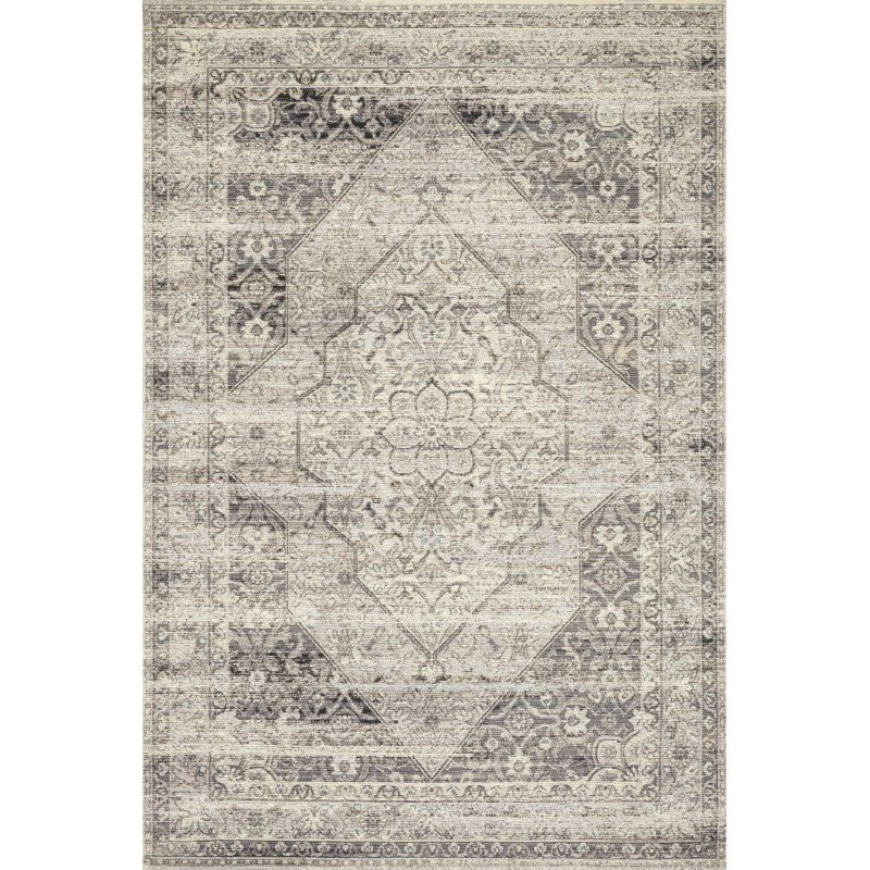 """Loloi Mika MIK-12 Indoor/Outdoor Power Loomed 3' 11"""" x 5' 11"""" Rectangle Rug in Stone and Ivory (MIKAMIK-12SNIV3B5B)"""