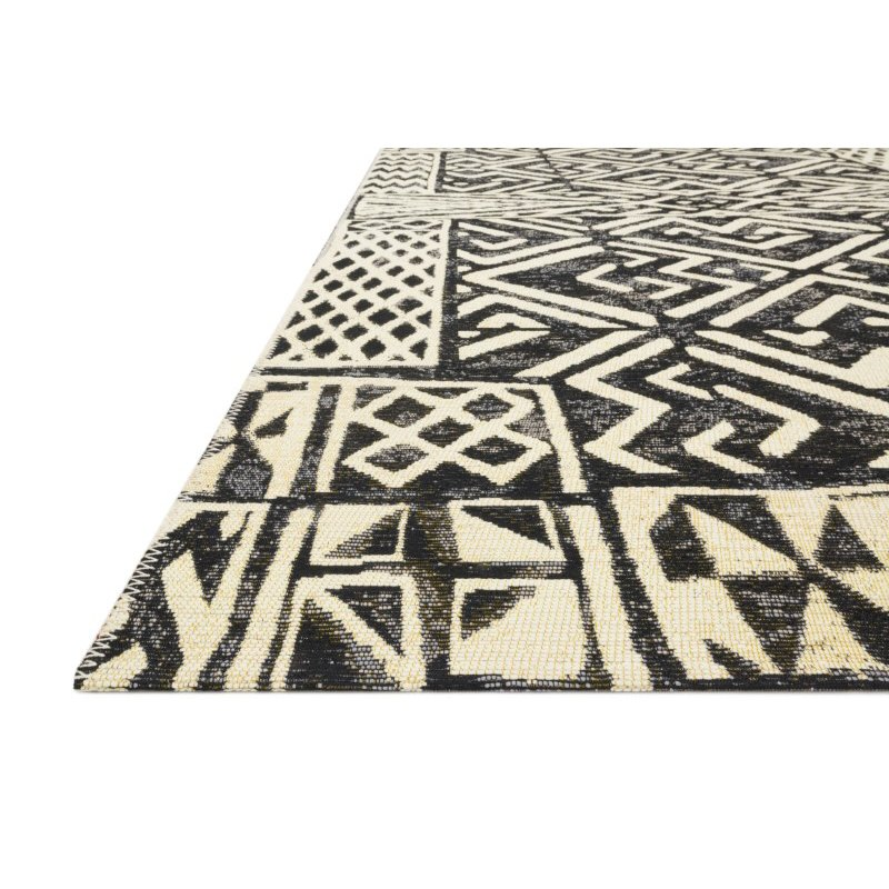 """Loloi Mika MIK-13 Indoor/Outdoor Power Loomed 6' 7"""" x 9' 4"""" Rectangle Rug in Ivory and Black (MIKAMIK-13IVBL6794)"""
