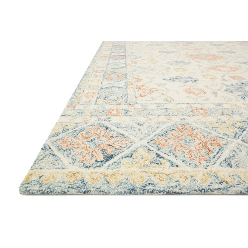 """Loloi Norabel NOR-01 Contemporary Hooked 5' x 7' 6"""" Rectangle Rug in Ivory and Multi (NORBNOR-01IVML5076)"""