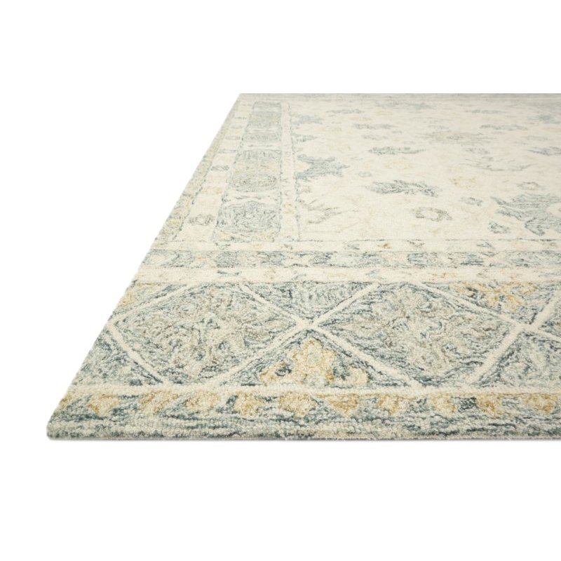 """Loloi Norabel NOR-01 Contemporary Hooked 8' 6"""" x 12' Rectangle Rug in Ivory and Slate (NORBNOR-01IVSL86C0)"""