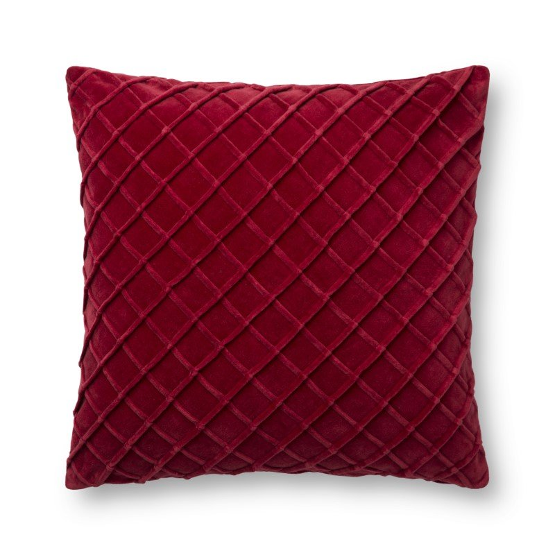 """Loloi P0125 Pillow 22"""" x 22"""" Cover with Poly in Red (PSETP0125RE00PIL3)"""