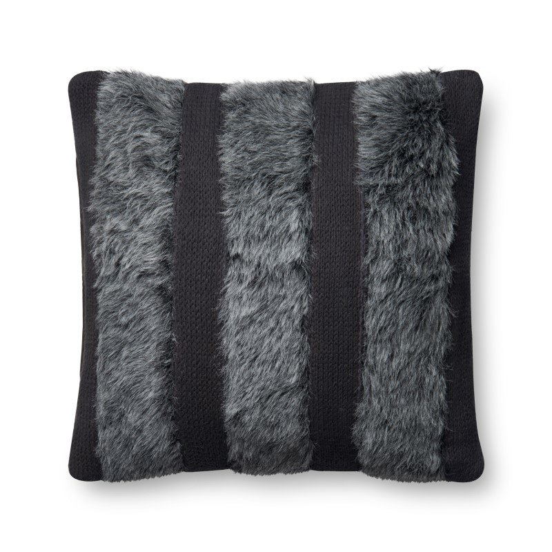 """Loloi P0519 Pillow 22"""" x 22"""" Cover w/ Down in Grey (DSETP0519GY00PIL3)"""