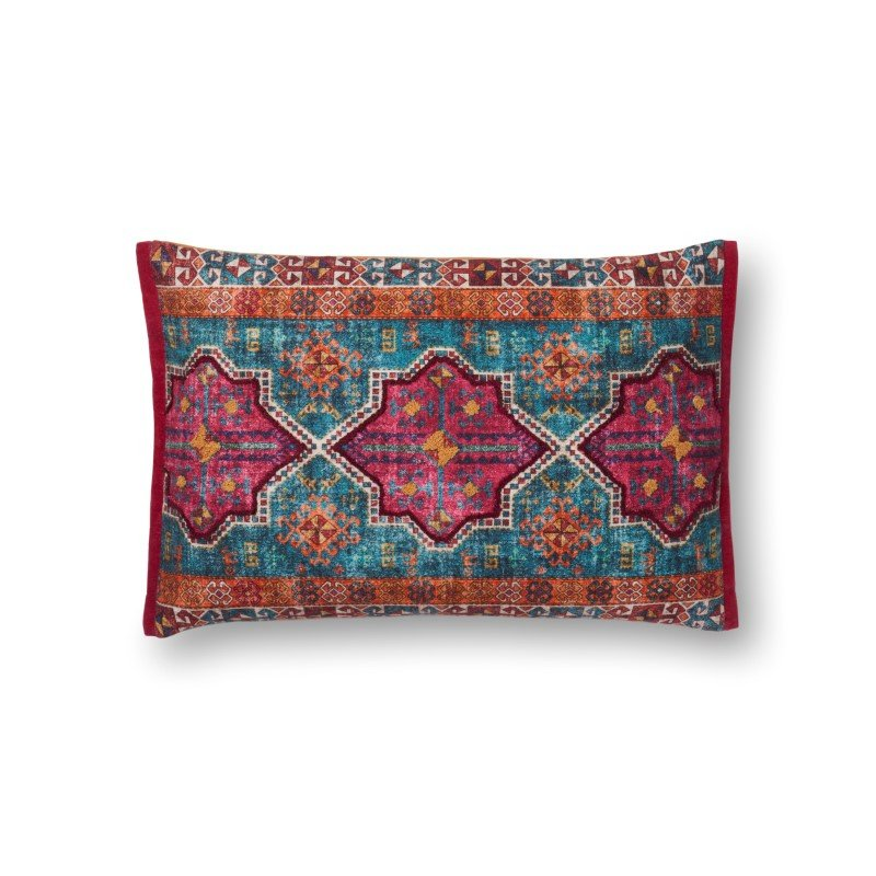 """Loloi P0524 Pillow 13"""" x 21"""" Cover w/ Down in Multi (DSETP0524ML00PIL5)"""