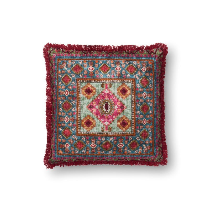 """Loloi P0525 Pillow 18"""" x 18"""" Cover w/ Down in Multi (DSETP0525ML00PIL1)"""