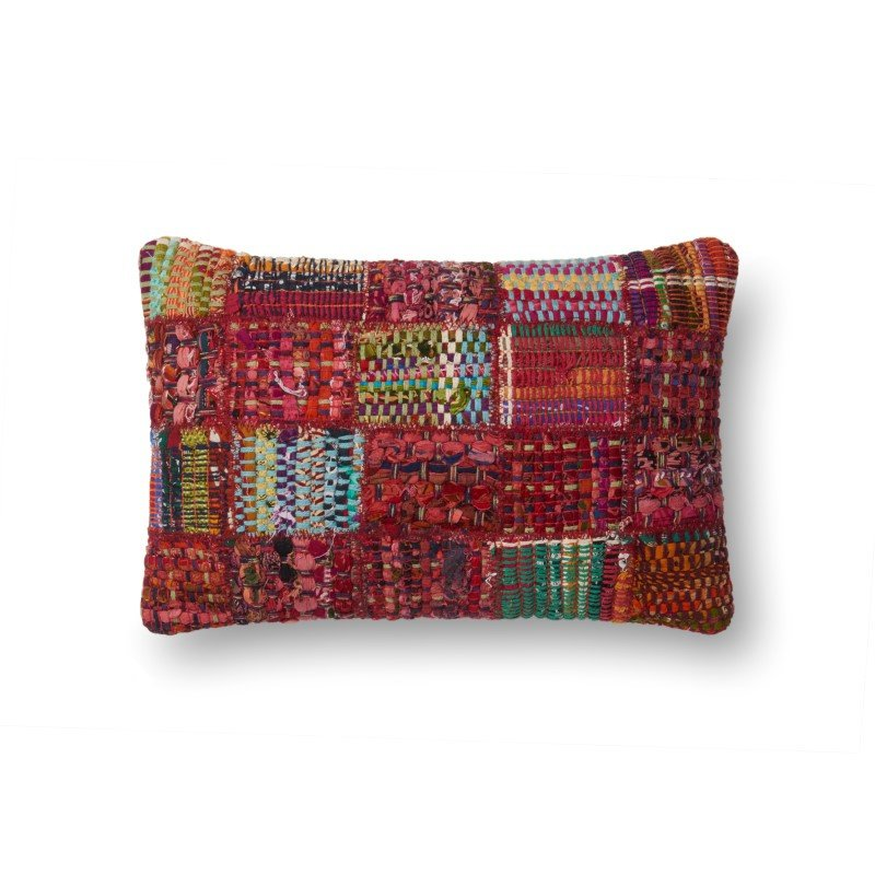 "Loloi P0535 Pillow 13"" x 21"" Cover w/ Down in Red and Multi (DSETP0535REMLPIL5)"