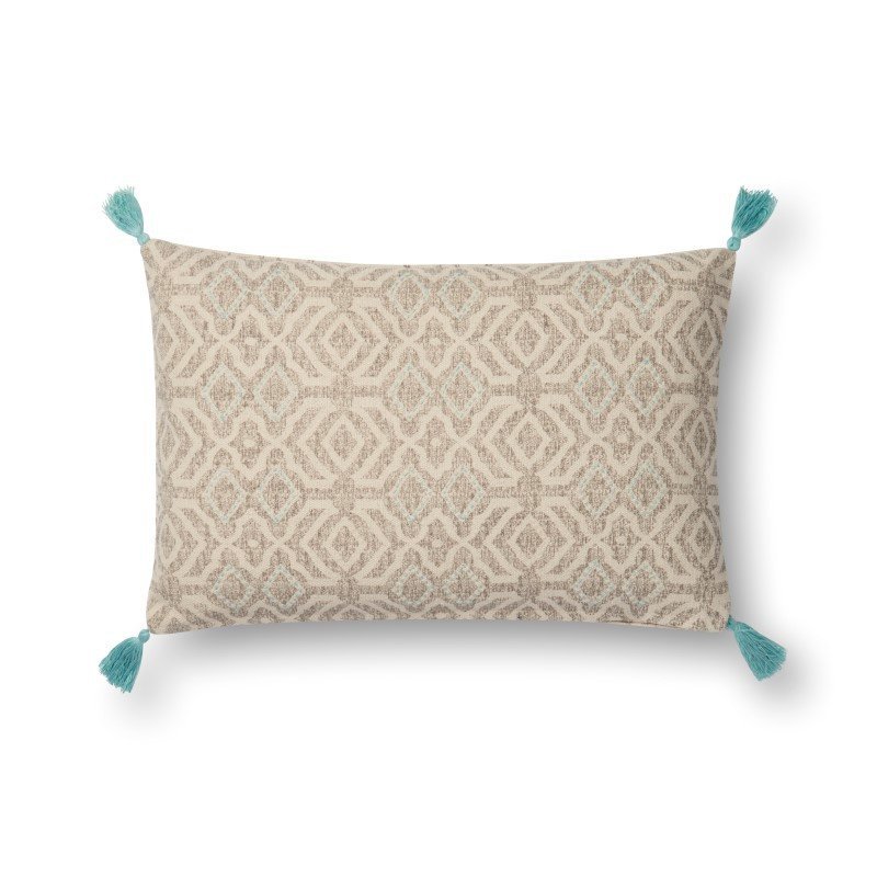 """Loloi P0543 Pillow 13"""" x 21"""" Cover w/ Poly in Natural and Grey (PSETP0543NAGYPIL5)"""